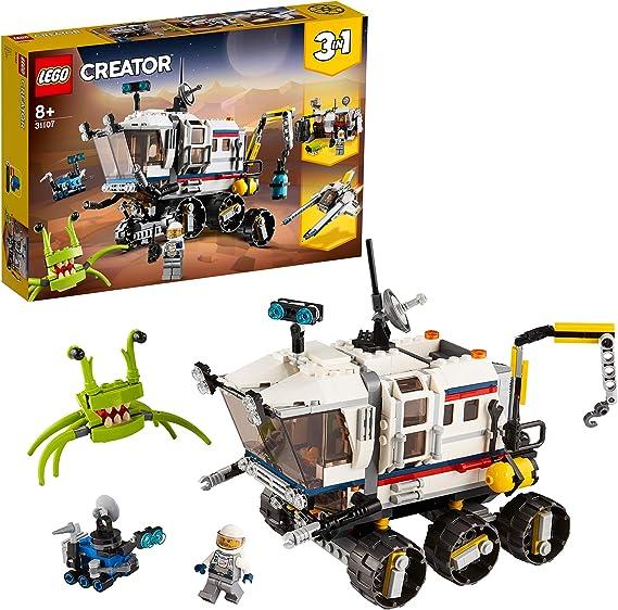 LEGO 31107 Creator 3 en 1 RóverExploradorEspacial, Base Espacial o Astronave, Juguete de Construcción para Niños a Partir de 8 años
