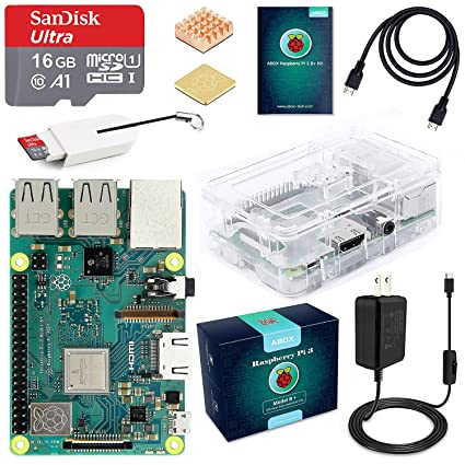 ABOX Raspberry Pi 3 B+ Complete Starter Kit with Pi 3 Model B+ Board, 16GB  Micro SD Card Preloaded Noobs, 5V 3A On/Off Power Supply, Clear Case, HDMI