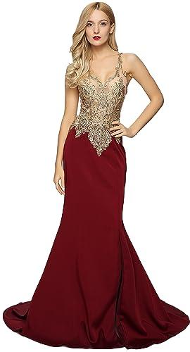 Meier Women's Sleeveless Emboridery Bead V-Neck Evening Dress with Slit