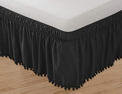 Elegant Comfort Top-Knot Tassle Pompom Fringe Ruffle Skirt Around Style Elastic Bed Wrap-Wrinkle Resistant 16inch Drop, Queen/King, Black