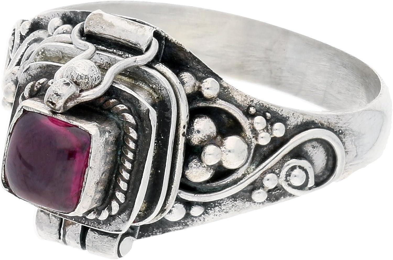 Sterling Silver Square Garnet Poison Locket Box Ring Size 7(Sizes 4,5,6,7,8,9,10,11)