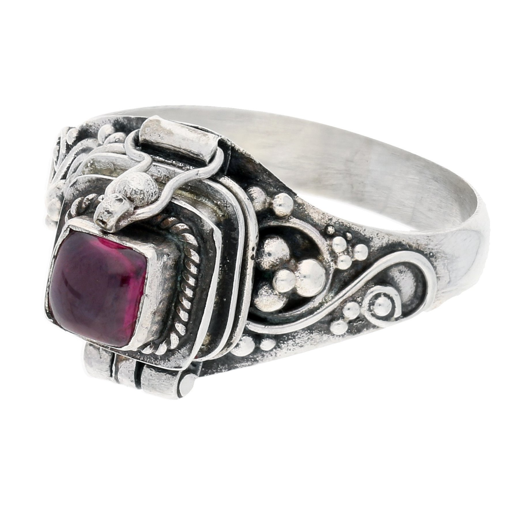 Sterling Silver Square Garnet Poison Locket Box Ring Size 9(Sizes 4,5,6,7,8,9,10,11)
