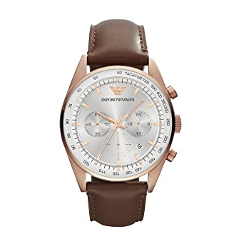 ed63a2bd5ac5 Image Unavailable. Image not available for. Color  Emporio Armani Men s  AR5995 Brown Leather Strap Silver Dial Watch