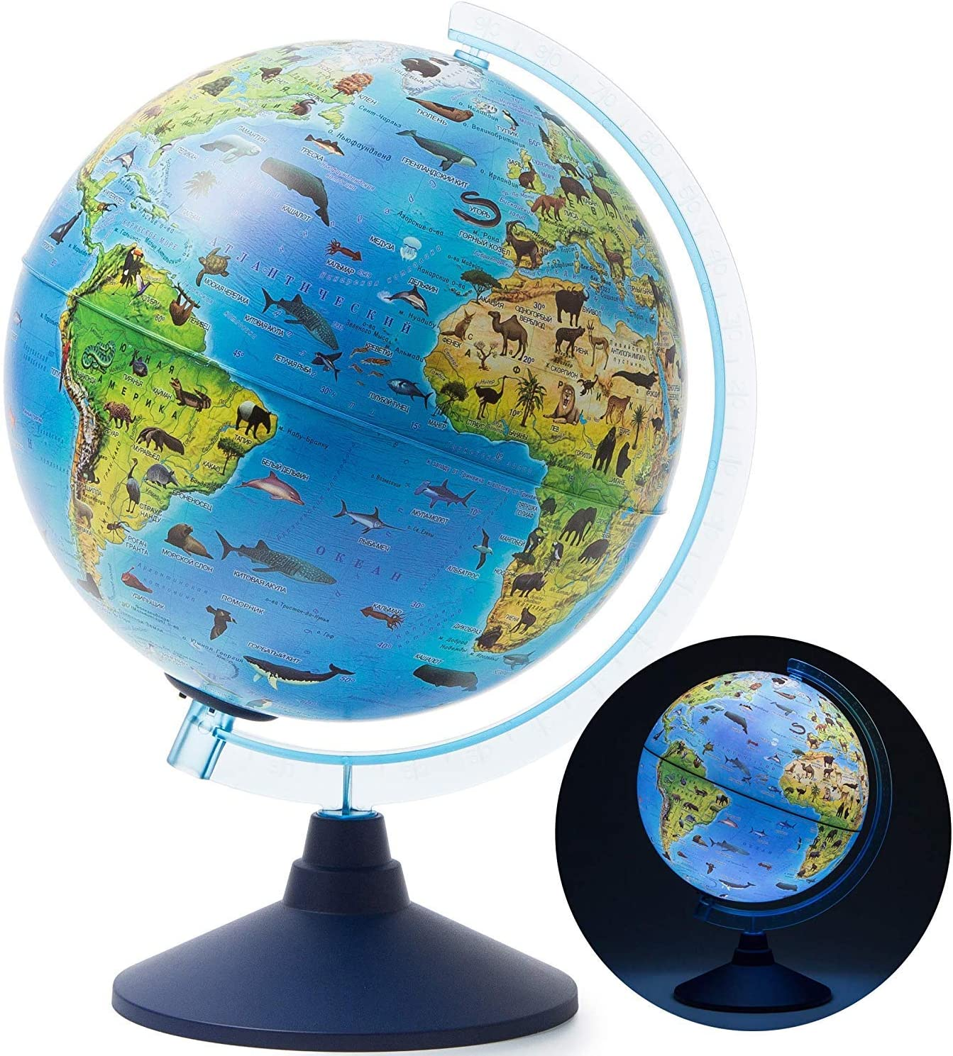 """Exerz 10"""" / 25CM Zoo-Geo Illuminated Globe Safari with Cable Free LED Light/ 2 in 1/ Day and Night - Physical and Zoo Dual Mapping, Illuminated Without Any Cable - Topography/Geography/Ridge (10"""")"""