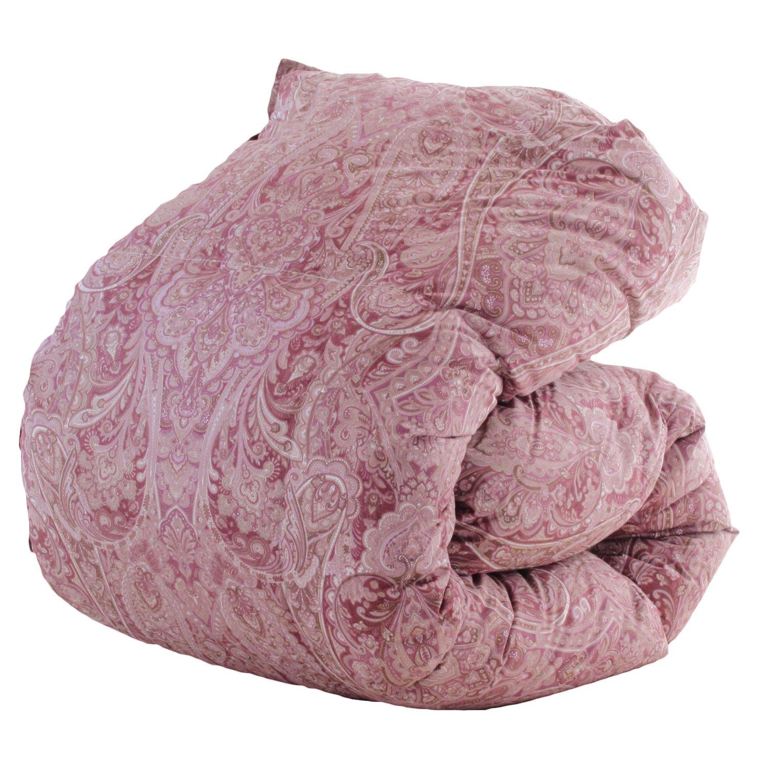 【今だけカバープレゼント/柄や品質は当店おまかせ】昭和西川 羽毛布団 マザーホワイトグース93% DP420以上 シングル 国産 ピンク色 B0755CGNLP