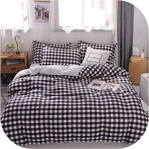 Duvet//Quilt  Cover Bedding Sets Twin Queen King Plaid Pattern White Pillowcase