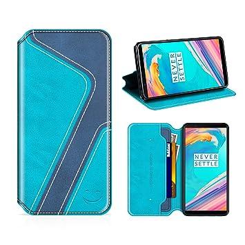 MOBESV Smiley Funda Cartera OnePlus 5T, Funda Cuero Movil OnePlus 5T Carcasa Case con Billetera/Soporte para OnePlus 5T - Aqua/Azul Oscuro