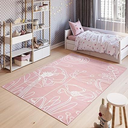 Tapiso Pinky Tapis de Chambre Enfant Bébé Ado Design Moderne Rose Blanc  Fleurs Feuilles Jeu Doux Fin Résistant 160 x 220 cm