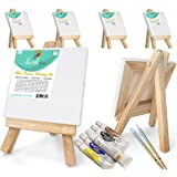 "Daveliou Mini Canvas Painting Set 3""x3"" - Blank Stretched Framed Canvas 6 Piece Pack - 5"" Easel - 6 Acrylic Paints - 2 Paint Brushes"