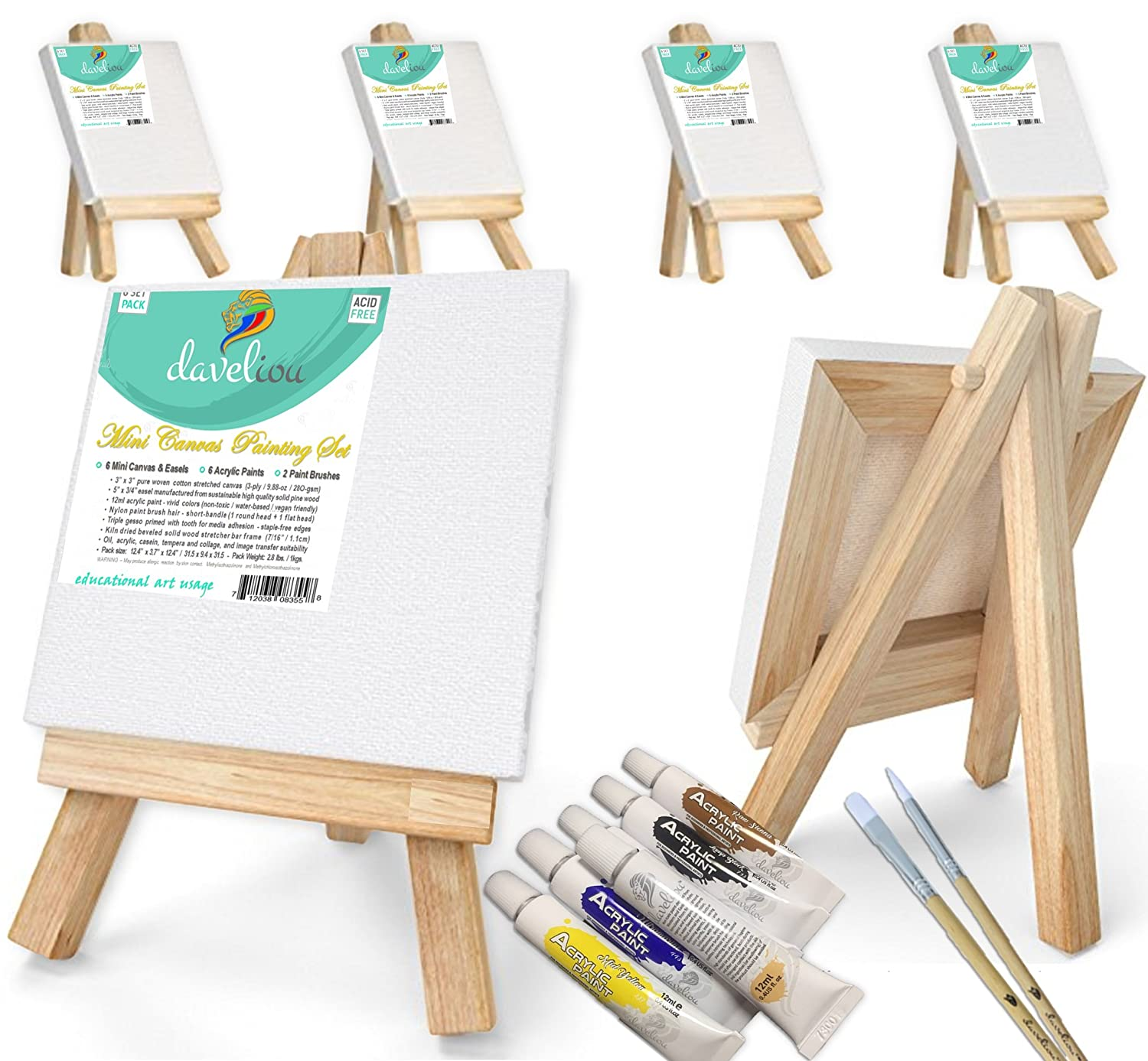 "Daveliou Mini Canvas Painting Set 3x3"" (7.6x7.6 cm) - Blank Stretched Framed Canvas 6 Piece Pack - 5"" (12.7 cm) Easel - 6 Acrylic Paints - 2 Paint Brushes 9202100034"