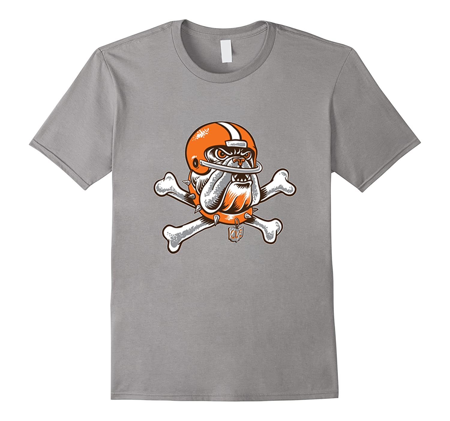 Orange Brown Dawg & Skull Bones Cleveland Football Shirt-CL