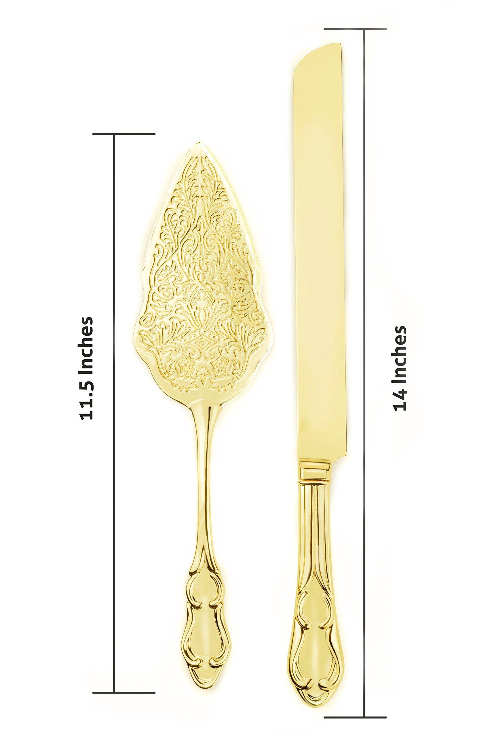 Strova Gold Wedding Cake Knife and Server Set | Vintage Bride and ...