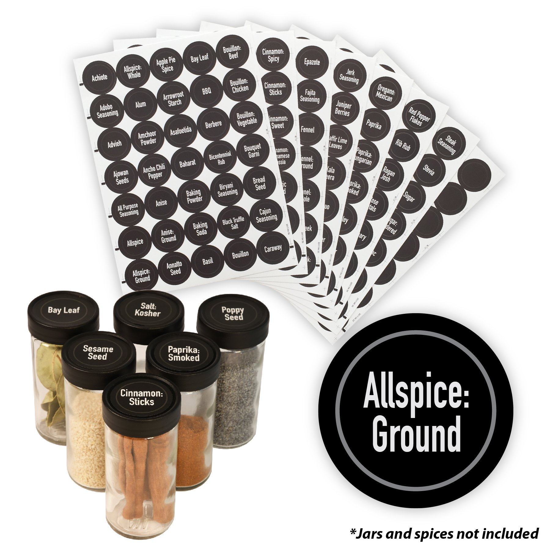 AllSpice 315 Preprinted Water Resistant Round Spice Jar Labels Set 1.5''- Fits Penzeys and AllSpice Jars- 4 styles to choose from (Modern Black)