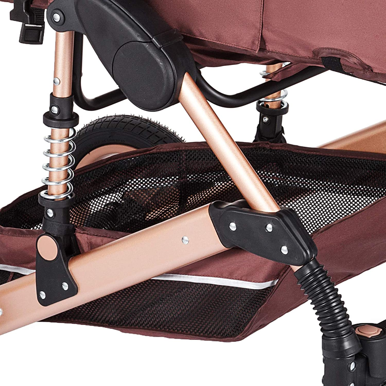 Hopopular Folding Luxury Baby Stroller Travel System with Anti-Shock Springs Newborn Baby Pushchair Adjustable High View Pram Travel System Carriage Infant Stroller Pushchair Luxury Baby Stroller