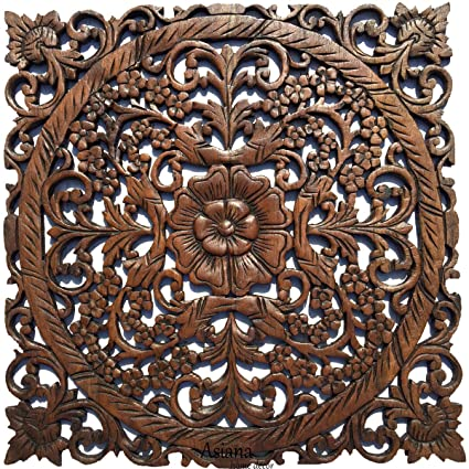 Delightful Large Wood Wall Art  Oriental Carved Wood Wall Decor. Floral Wall Decor.  Asian