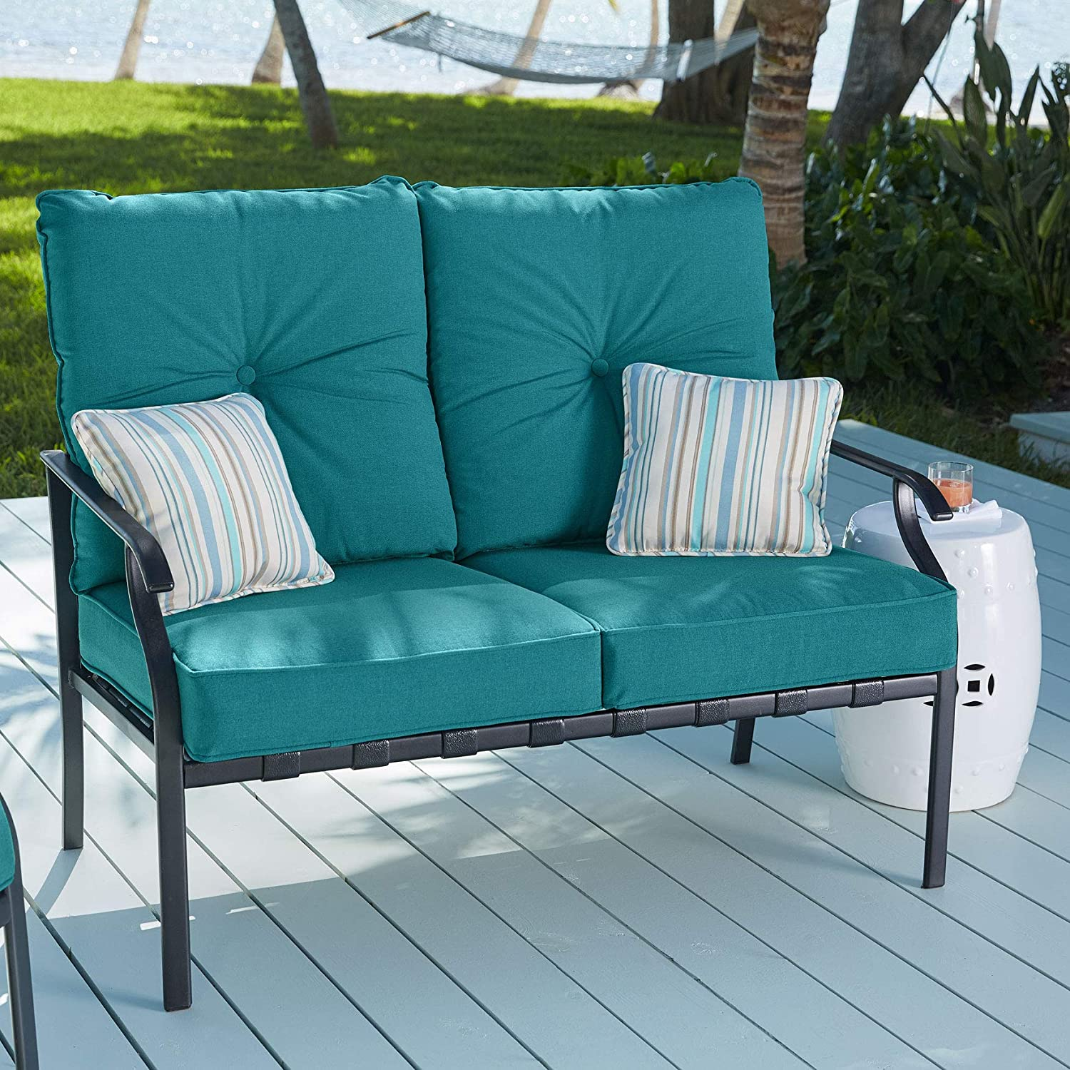 BrylaneHome Deep Seating Steel Slat Loveseat – Teal