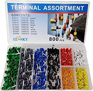 EL-SKY 800pcs Assortment Ferrule Wire Copper Crimp Connector, Wire Terminals Kit, Wire Connector Kit, Insulated Cord Pin End Terminal AWG 22-10 Kit