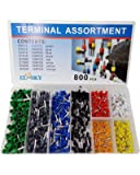 EL-SKY 800pcs Assortment Ferrule Wire Copper Crimp Connector, Wire Terminals Kit, Wire Connector Kit, Insulated Cord Pin…
