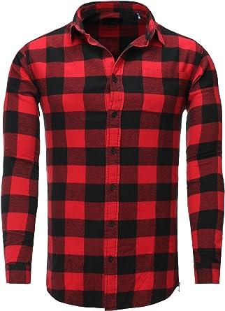 Shine Original Camisa de leñador Los Hombres Negro Cuadros Comprobar Collar Rojo XXL: Amazon.es: Ropa y accesorios