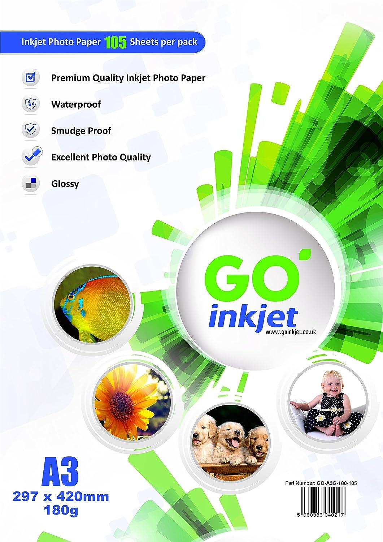 100 hojas A3 180 g/m2 Glossy Photo Paper Plus extra 5 hojas de papel fotográfico: Blanco brillante y resistente al agua, compatible con impresoras ...