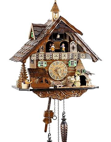 Reloj de cuarzo negro con pilas, funciona con pilas, con mecanismo de música y