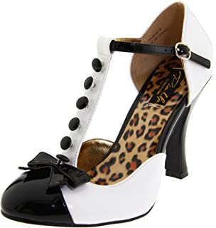 Pleaser Smitten 10 - Chaussures à Plateforme et à Talons avec Lanière en T - Femme -Blanc (White/Black) - 38 EU (5 UK) 3NuJA6BfH
