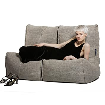 0d878f4cea Ambient Lounge Twin Couch Designer Bean Bag with Filling Eco Weave Interior  Fabric  Amazon.co.uk  Kitchen   Home