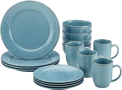 Rachael Ray Cucina Dinnerware 16 Piece Stoneware Dinnerware Set Agave Blue Dinnerware Sets