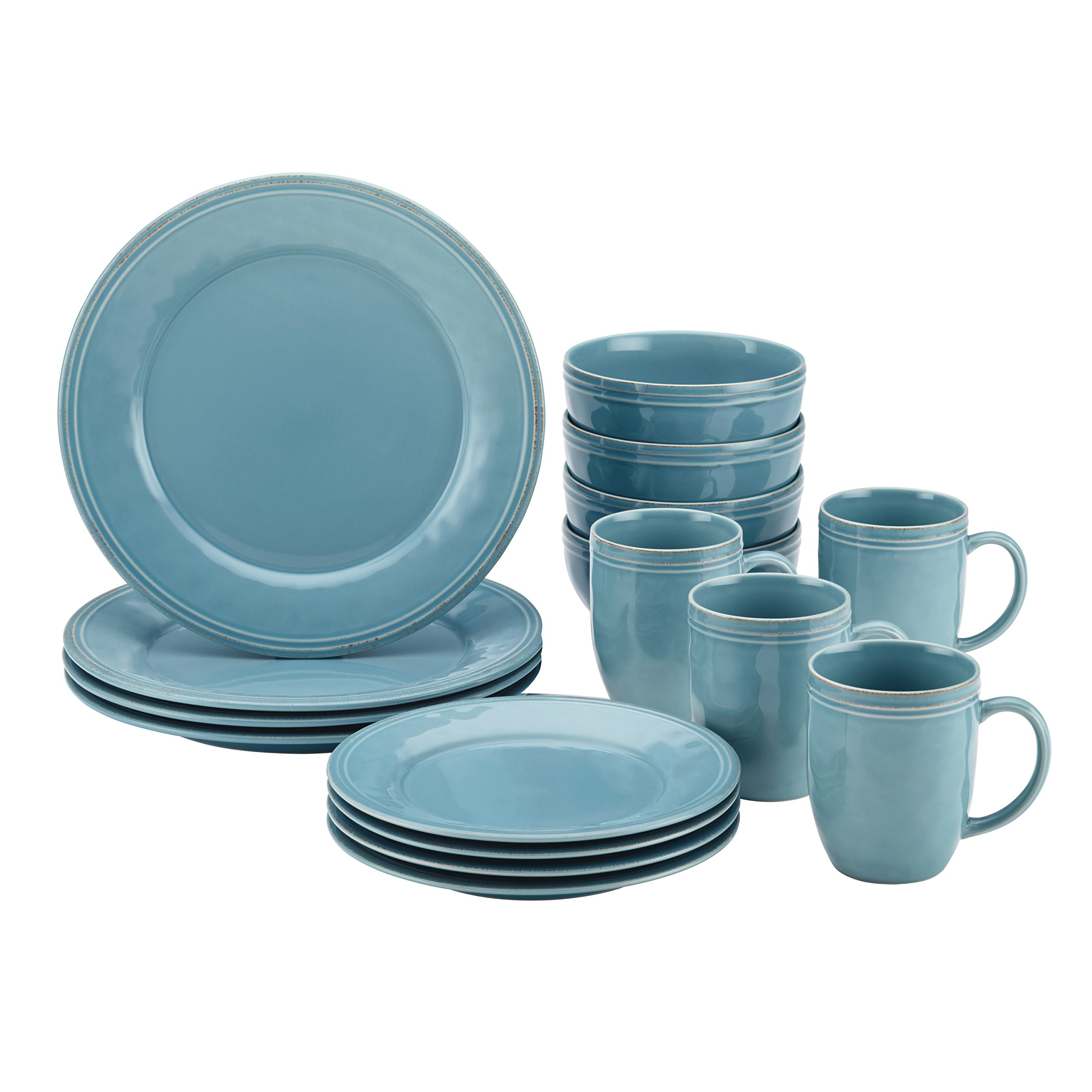Rachael Ray Cucina Dinnerware 16-Piece Stoneware Dinnerware Set, Agave Blue by Rachael Ray (Image #1)