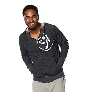 Zumba Fitness Men's Repstyle Zip Up MT Outerwear Hoodie - Back to Black  Heather, X