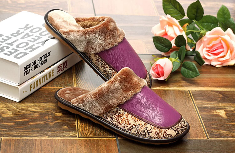 70%OFF Km Women Leather Home Warmth Slip Plush Slipper #Zp0009 (Purple, L)