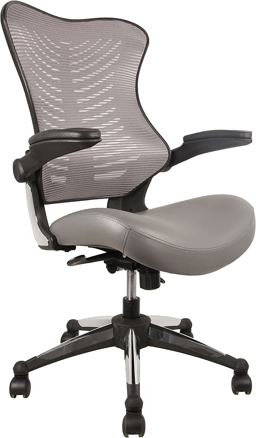 OFFICE FACTOR Executive Ergonomic Office Chair Gray Back Mesh Bonded Leather Seat Flip up Armrest Molded Seat with a 55kg Foam Density Double Handle Mechanism You Can Lock The Back in Any Position