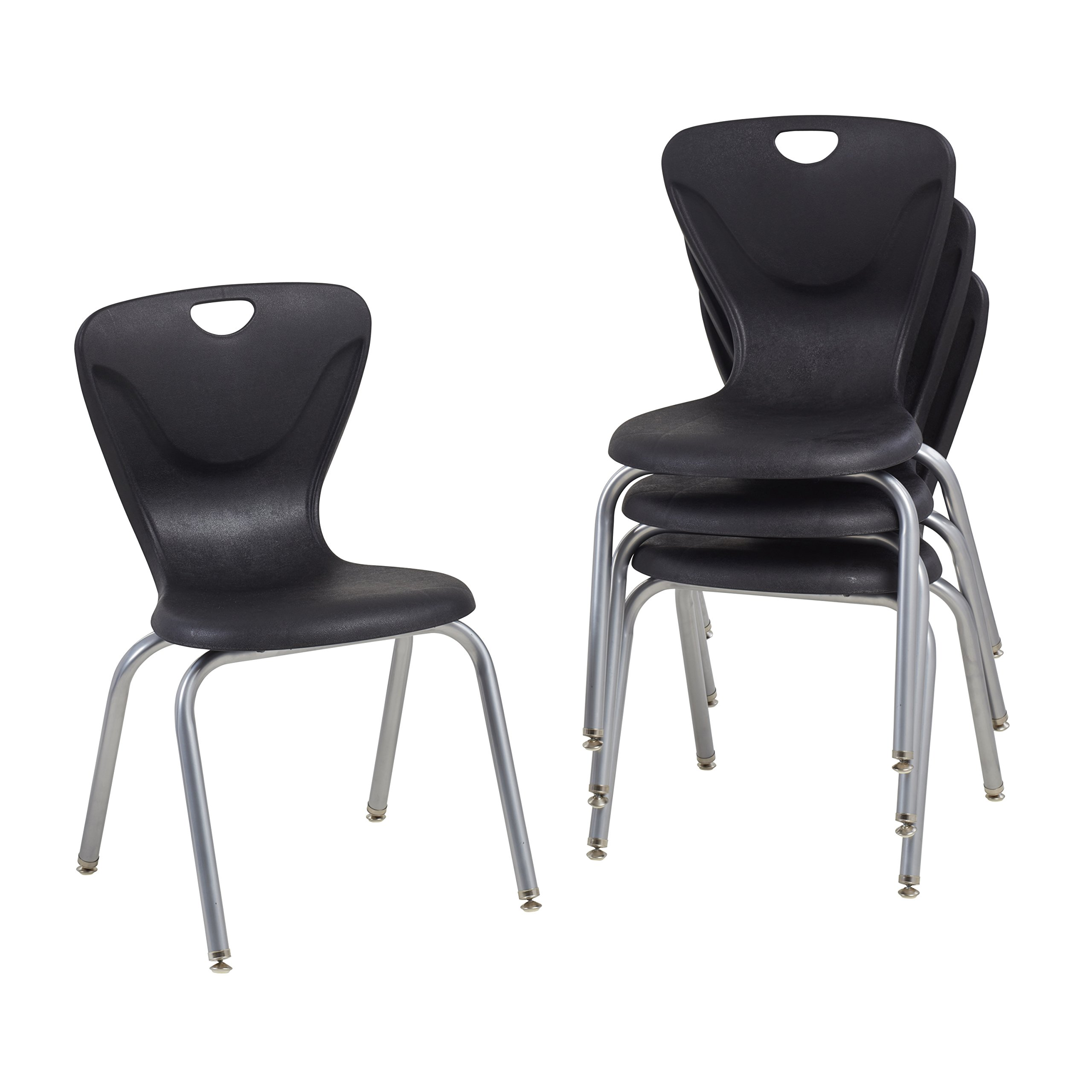 ECR4Kids 18'' Contour School Stacking Student Chair, Molded, Black (Set of 4)