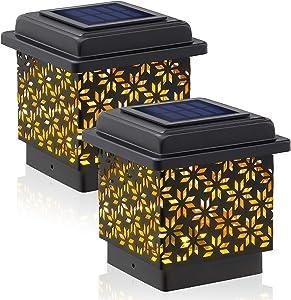 Siedinlar Solar Post Cap Lights Outdoor Metal 4x4 (3.5x3.5 in) Wooden Posts Warm White Lighting for Fence Deck Patio Garden Decoration Black(2 Pack)