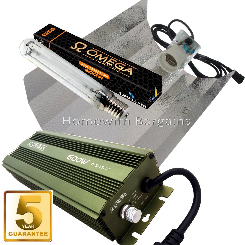 600W Omega dimmbar Digital Grow/Ballast Kit Licht der Blüte, Reflektor Hood, HPS Dual Spectrum-Glaskolben