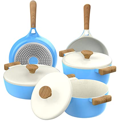 Vremi 8 Piece Ceramic Nonstick Cookware Set Induction Stovetop Compatible Dishwasher Safe Non Stick Pots