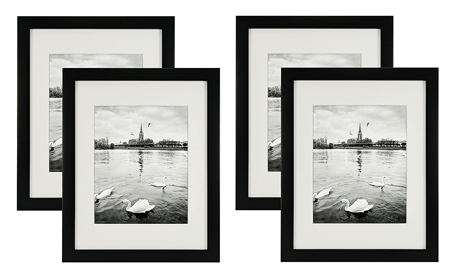 Golden State Art Set of 4, 11x14 Black Photo Wood Frame with REAL GLASS and White Mat for 8x10 Picture (4)