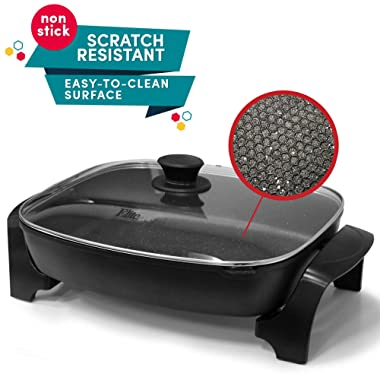 """Elite Platinum EG-6203 Non-stick Deep Dish Heavy Duty Electric Skillet with Tempered Glass Vented Lid and Easy-Pour Spout, Dishwasher Safe, 1500W, 16"""" x 13"""" x 3.15"""" - 8 Quart, Black"""