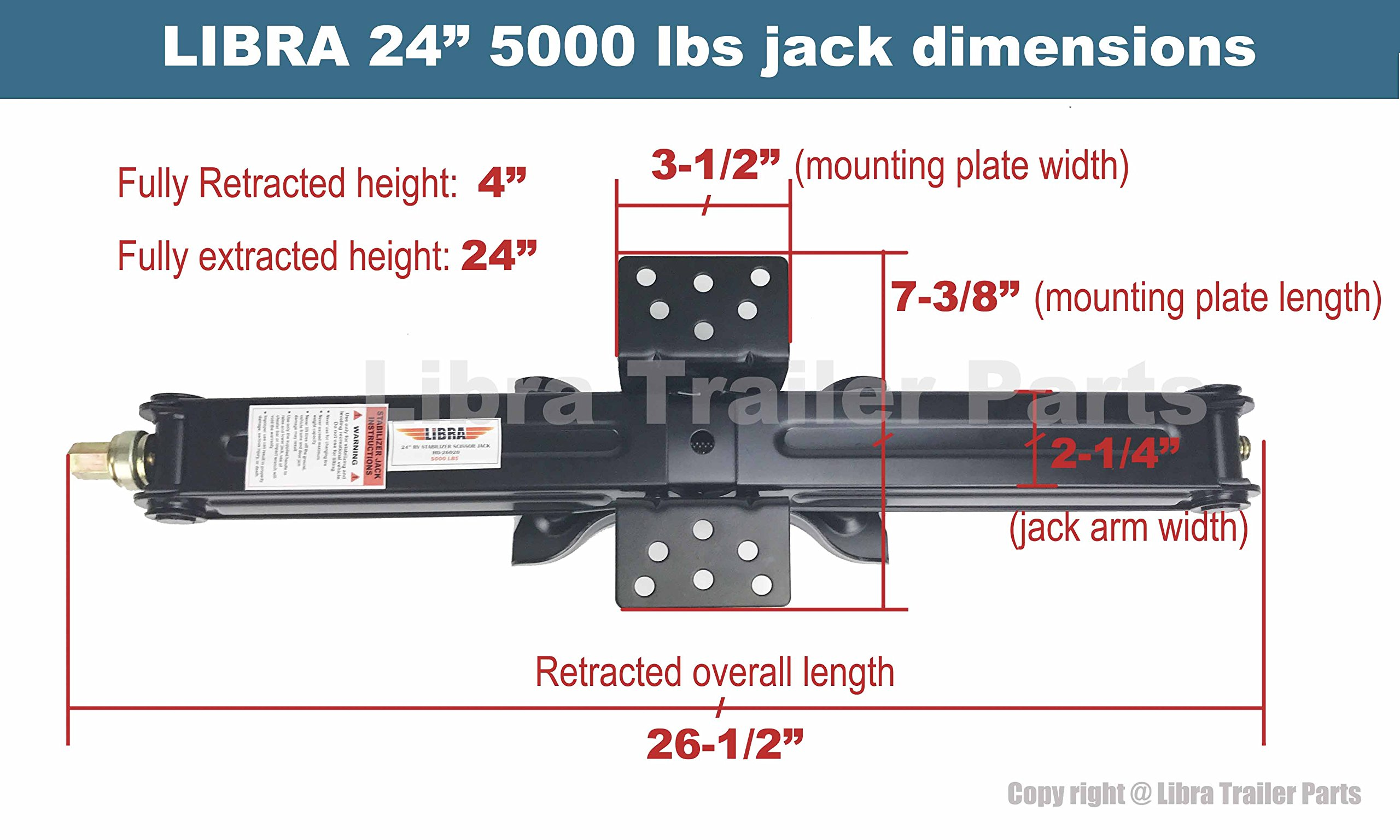 Set of 2 5000 lb 24'' RV Trailer Stabilizer Leveling Scissor Jacks w/handle & Power Drill Socket & hardware -part#26020 by Libra (Image #6)