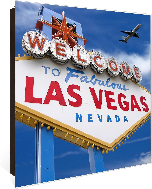 als Magnettafel nutzbar Schl/üsselaufbewahrung 30cm x 30cm beschreibbare Glast/ür Scharnier Rechts banjado Gro/ßer Schl/üsselkasten aus Glas Motiv Las Vegas Schl/üsselbox mit 50 Haken