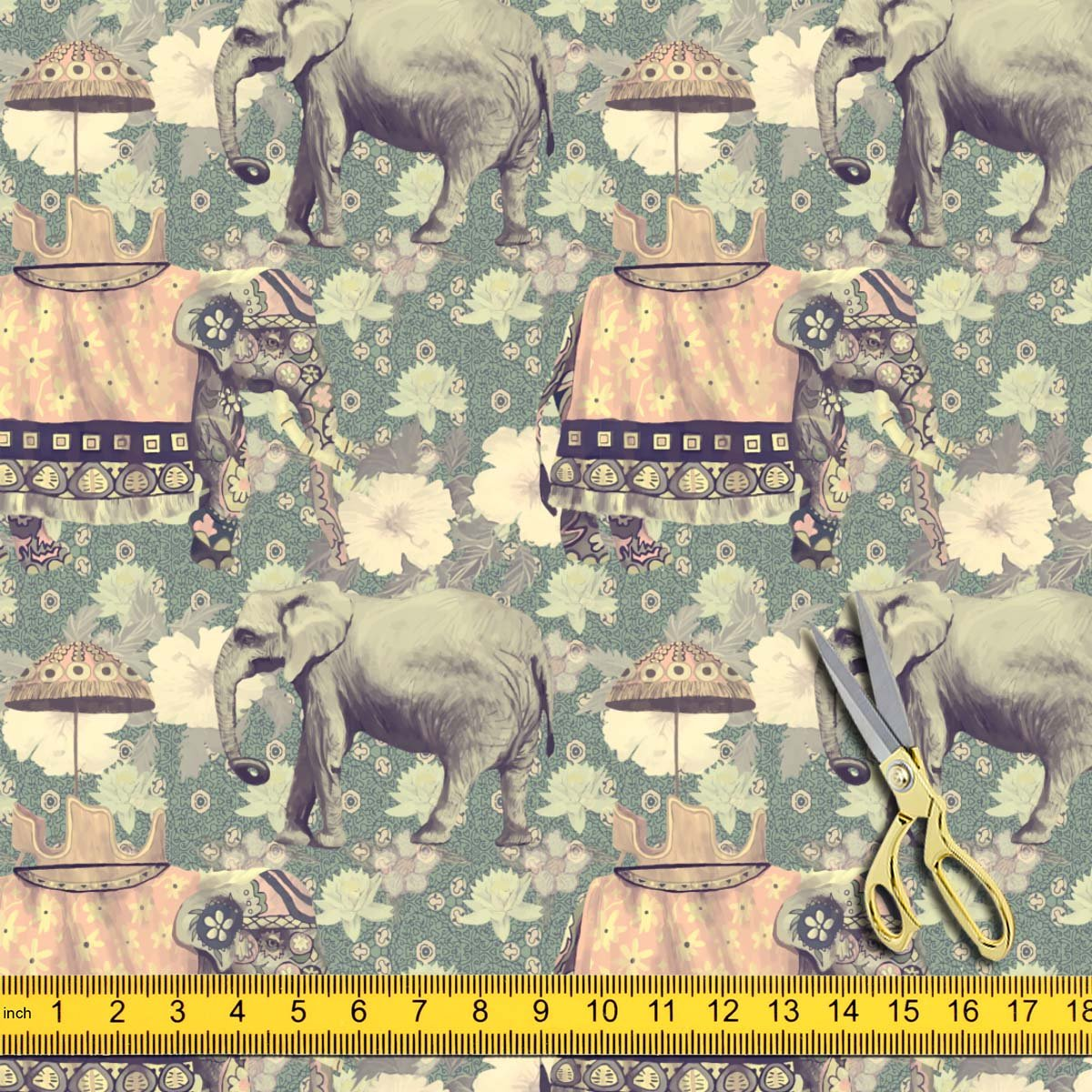 0c39bcdc97 Artzfolio Indian Elephants D6 Canvas Fabric Dress Material & Upholstery  1.3Metre X 4Metre;Canvas: Amazon.in: Home & Kitchen