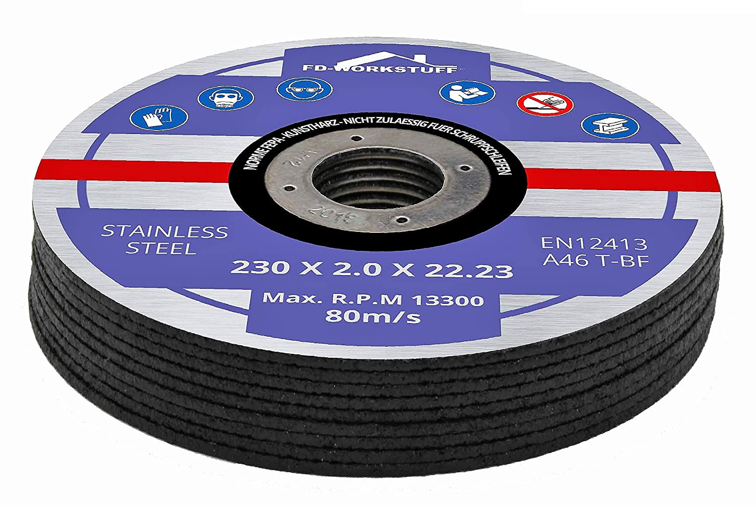 Pack of 10Cutting Disc ø 230mm x 2.0mm for Angle Grinders Stainless Steel Disc Stainless Steel Metal FD-Workstuff