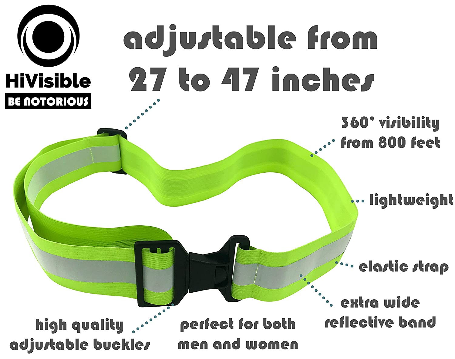 Army PT Belt Military Safety Reflector Strips HiVisible Reflective Running Gear for Men and Women for Night Running Cycling Walking High Visibility Reflective Belt
