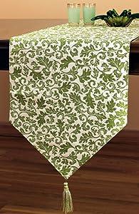 "Banarsi Designs Jacquard Floral Table Runner (Green, 120"" X 16"")"