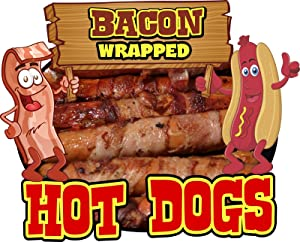 Harbour Signs Decal Bacon Wrapped Hot Dogs Food for Concession Restaurant Truck Exterior Vinyl Sign (14