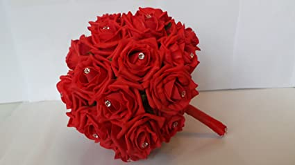 Pictures of red rose wedding bouquets