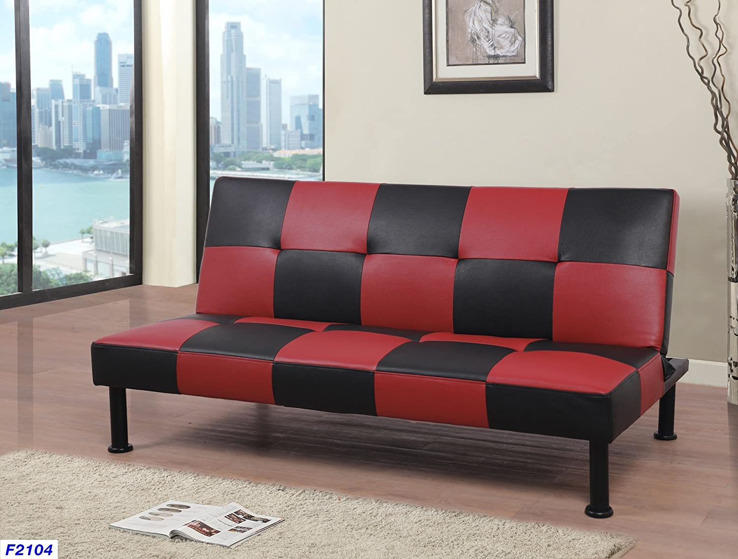 Awesome Beverly Fine Furniture F2104 Checkered Futon Sofa Bed 64 X 39 X 14 5 30 5 H Black Ncnpc Chair Design For Home Ncnpcorg