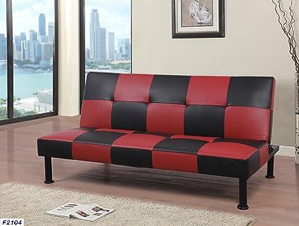 Beverly Fine Furniture F2104 Checkered Futon Sofa Bed 64\