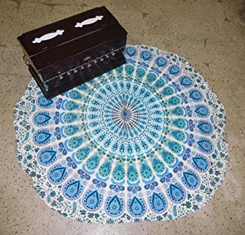 Amazon.com: Mandala Mat Toalla de playa azul pavo real ...