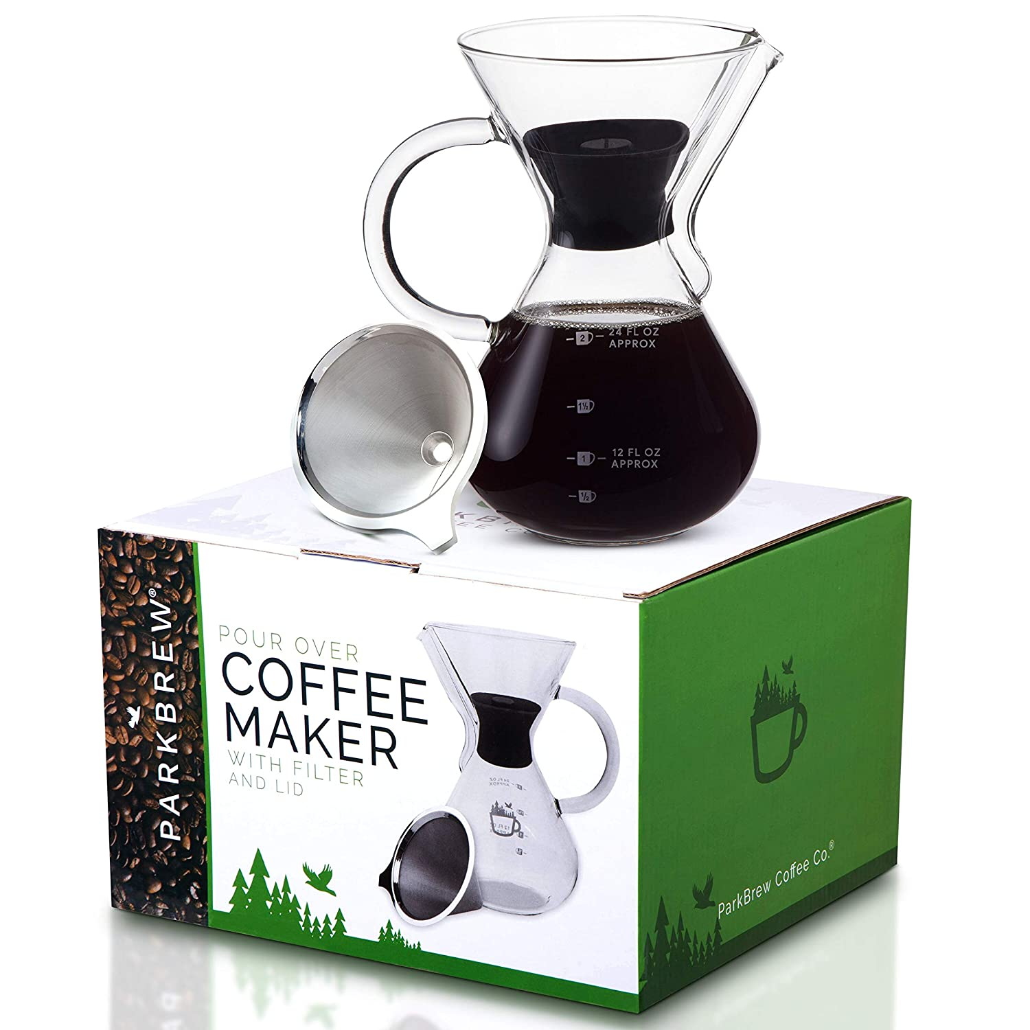 ParkBrew Pour Over Coffee Maker – includes glass pourover carafe up to 27 fl. oz. , heat retaining lid, and reusable coffee filter or dripper